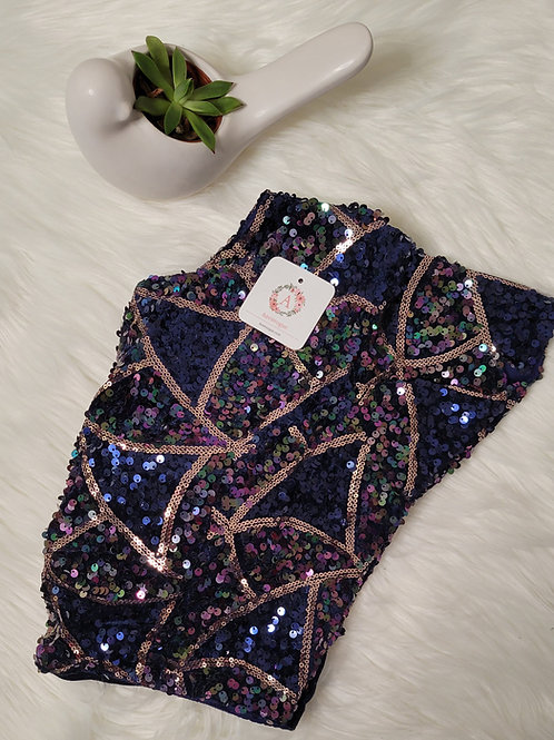 Navy Blue velvet and sequins party wear readymade blouse for Indian saree