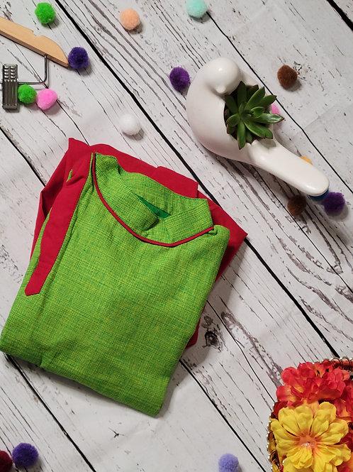 Bright Green and Red kurta and Dhoti pant
