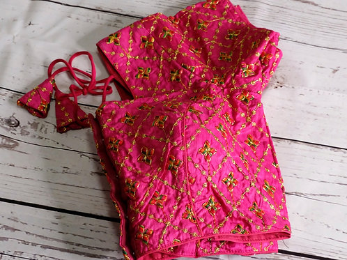 Lotus pink embroidery blouse for Indian sari