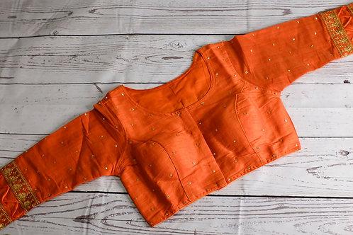 Orange designer blouse for Indian sari