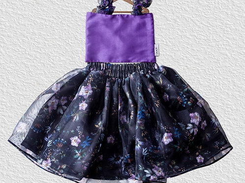 Black Floral organza skirt with Violet silk top for girls
