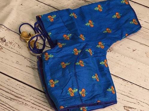Ink Blue embroidery readymade blouse for Indian sari