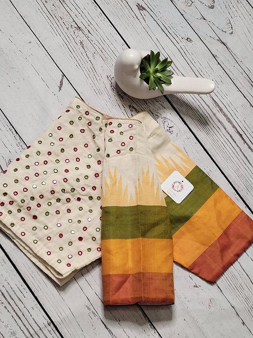 Cream color khadi cotton readymade blouse for Indian saree