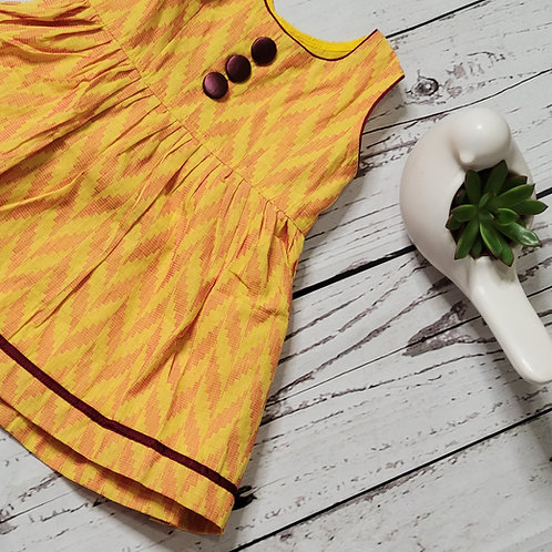 Yellow Ikat silk frock
