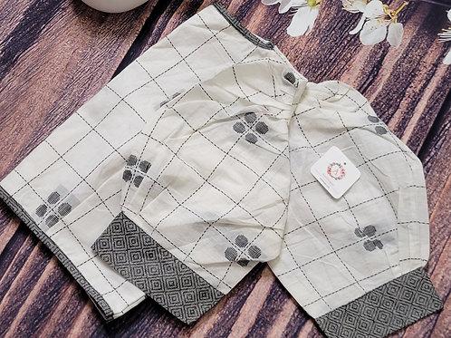 White Khadi cotton blouse with black thread work for Indian saree