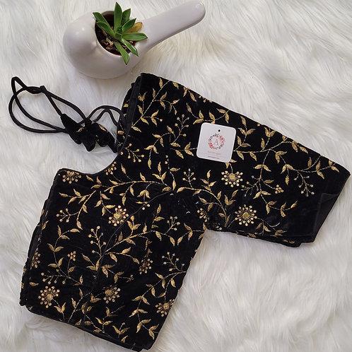 Black velvet readymade blouse with Zari embroidery work