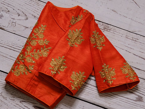 Orange zari Emblishment blouses for Indian saree