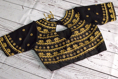 Black Elephant zari readymade blouse for Indian sari