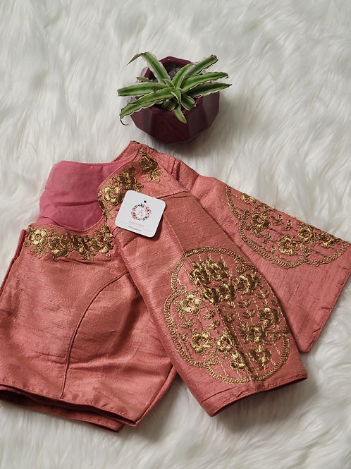 Peach embroidery readymade blouse for Indian saree