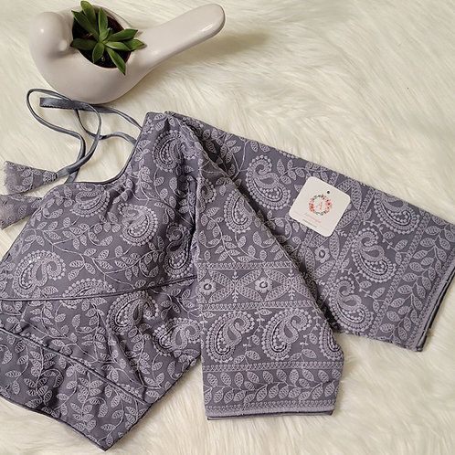 Grey chikankari sequence readymade blouse for Indian saree