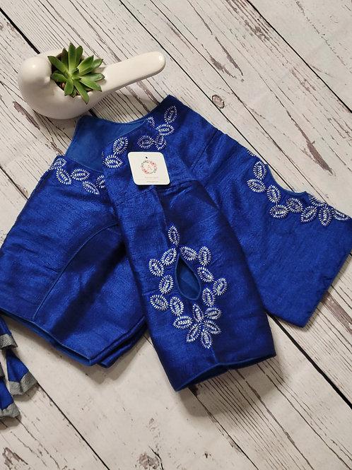 Silver zari readymade blouse - Indigo blue