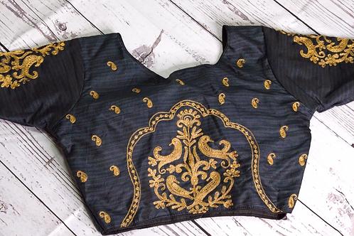 Black zari embroidery blouse for Indian sari