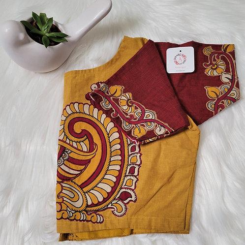 Mustard cotton blouse with kalamkari patch work readymade blouse