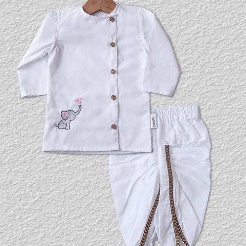 White cotton kurta and dhoti pant set for boys