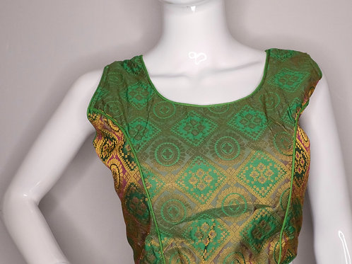 Green and purple brocade readymade blouse for Indian saree