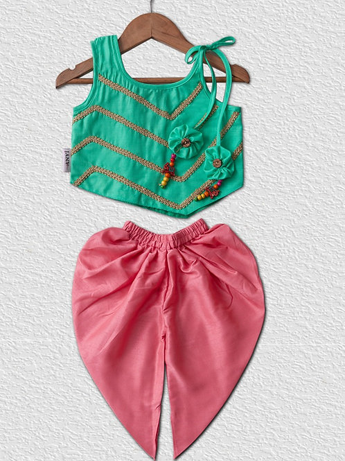 Sea green Cotton top and Pink silk Dhoti pant for Girls