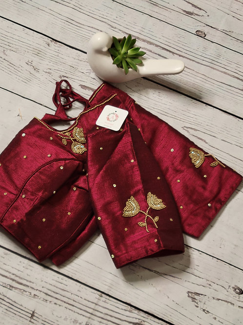 Maroon aari readymade blouse for Indian saree