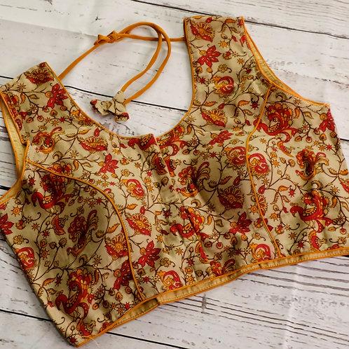 Cream color kalamkari cotton blouse for Indian sari