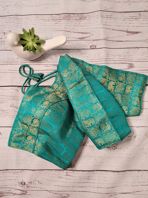 Rama Green brocade readymade blouse for Indian sarees