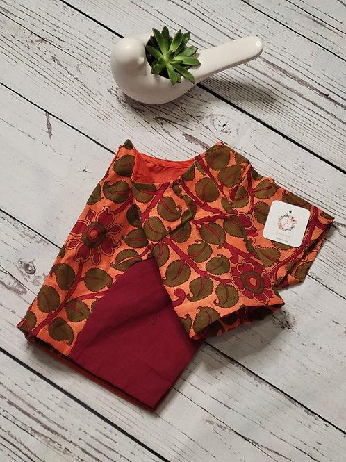 Kalamkari patch work readymade blouse for Indian saree - Maroon