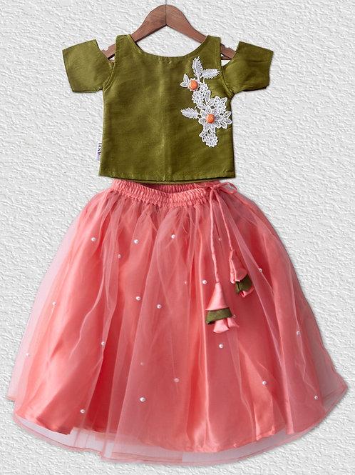 Mehandi greenraw silk top paired with peach lehangha for girls