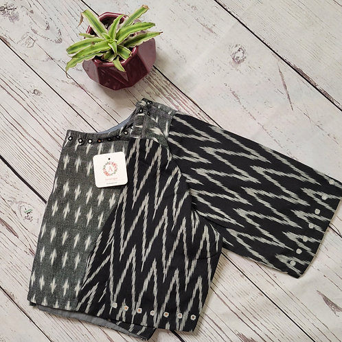 Grey Ikat readymade blouse for Indian saree