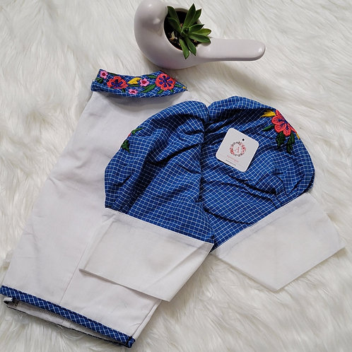 White and blue khadi cotton readymade blouse for Indian saree