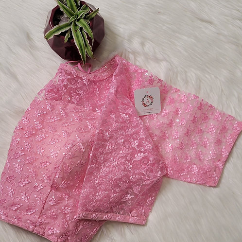 Baby Pink sequence worked readymade blouse for Indian saree