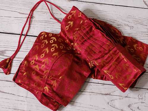 Dark red brocade readymade blouse for Indian saree