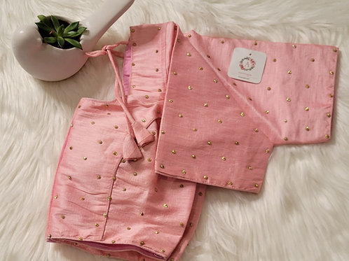 Baby Pink raw silk with golden butta readymade blouse for Indian saree