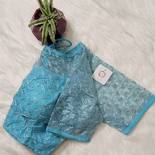 Baby Blue sequence worked readymade blouse for Indian saree