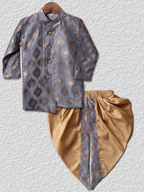 Grey silk sherwani top with Golden dhoti pants for boys