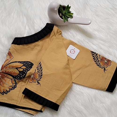Brown khadi cotton blouse with black hand painted work  for Indian saree