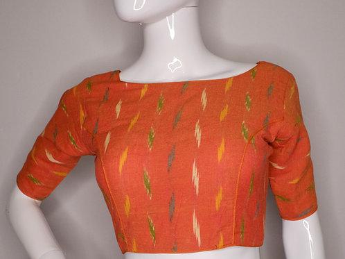 Orange Ikkat cotton readymade blouse for Indian saree
