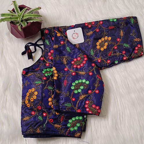 Navy blue readymade blouse with multi color embroidery work