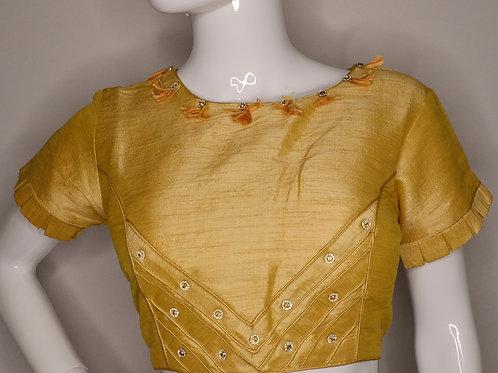 Golden phantom silk fancy blouse for Indian Sari