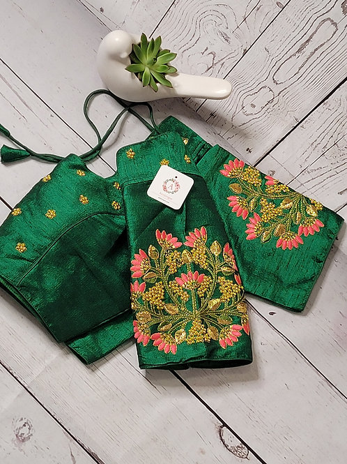 Bottle Green - Hand worked embroidery readymade blouse for Indian saree