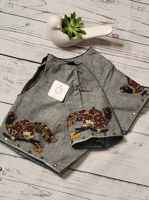 Grey color khadi cotton readymade blouse with applique work for Indian saree
