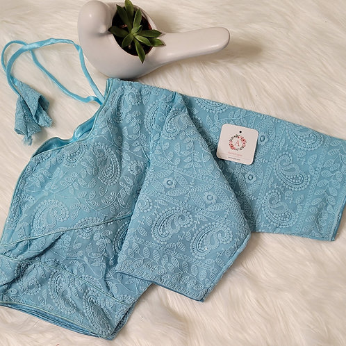 Baby Blue chikankari sequence readymade blouse for Indian saree
