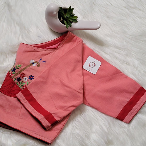 Peach color with Red hand embroidery readymade blouse for Indian saree
