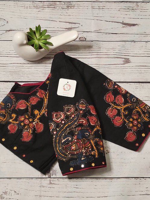 Black Khadi cotton readymade blouse with applique work for Indian saree