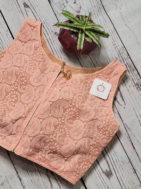 Peach color Chikankari crop-top