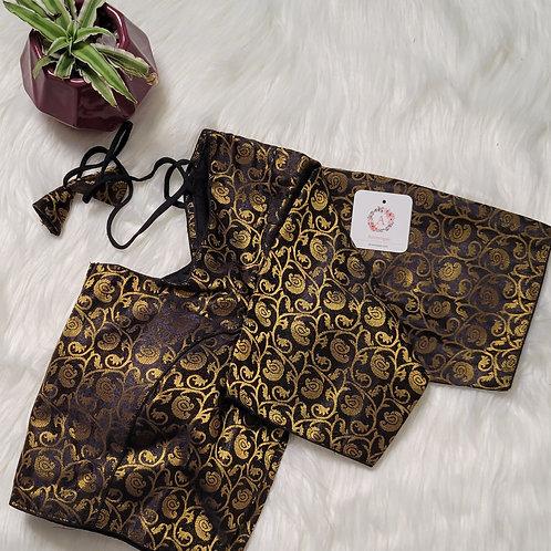 Black color brocade readymade blouse for Indian saree