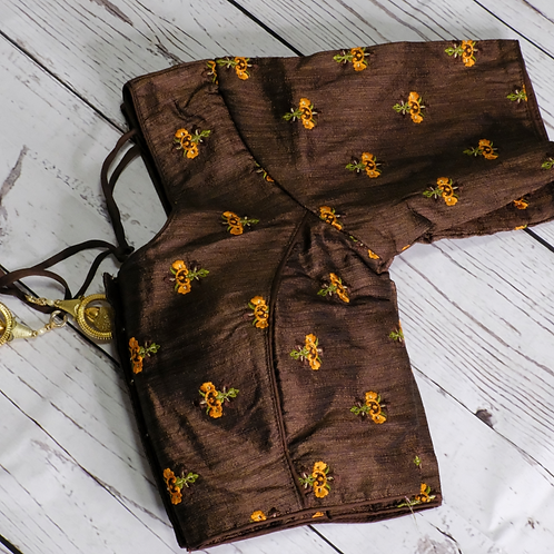 Brown embroidery readymade blouse for Indian sari