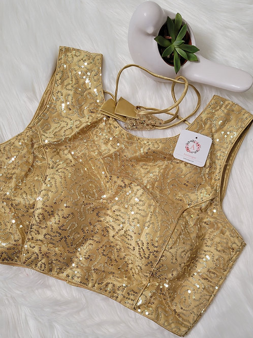 Golden color party wear Readymade blouse for Indian saree