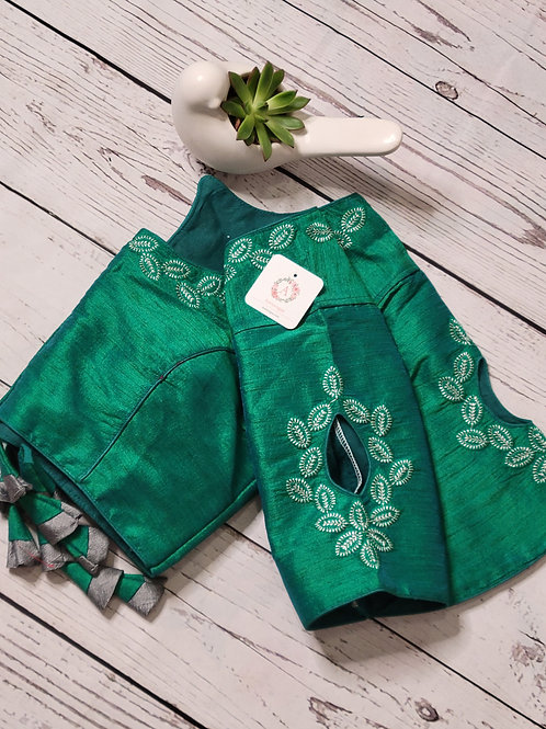 Silver zari embroidery  readymade blouse with fancy sleeves  -Peacock Green