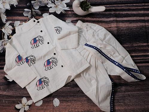Kurta and Dhoti pant set - Elephants hand embroided