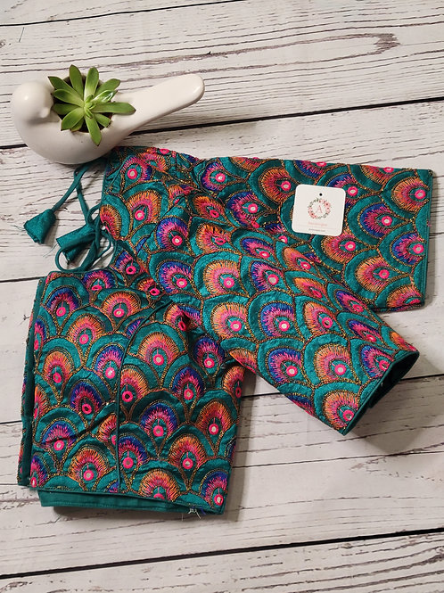 Peacock green multi colored embroidery blouse