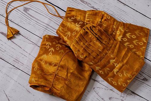 Bright Golden brocade readymade blouse for Indian saree