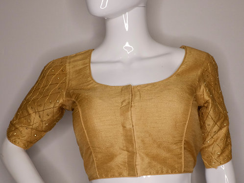 Golden color sequence worked readymade blouse for Indian saree
